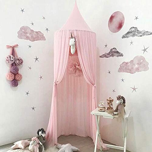 Bäddsoffa för barn, chiffongmyggnät, baby indoor Outdoor spel läsning tält, säng & sovrum dekoration (rosa)