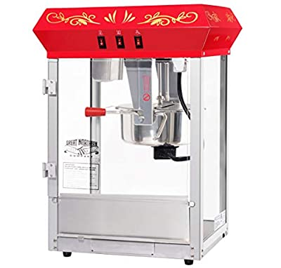 Great Northern Popcorn Company 698599HTL Countertop Style Popcorn Machine, 3 Gallons, Red