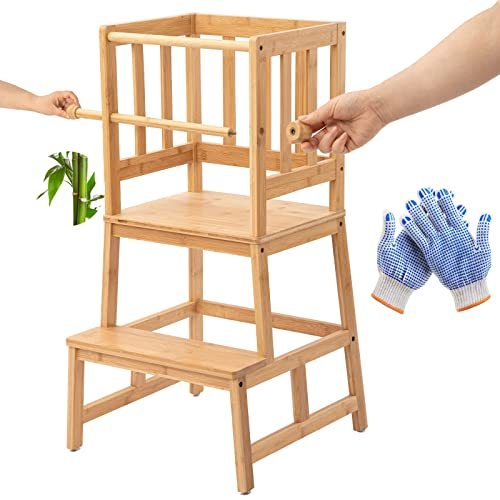 COSYLAND Taburete de Torre de Aprendizaje de Bambú con Barra de Seguridad para Niños de 18 Meses a 3 Años para Aprender Encimera de Cocina