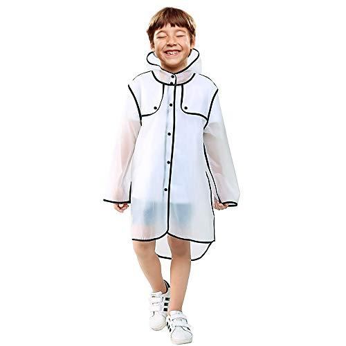 Vcostore Kids Rain Coat, Clear Rain Poncho Wrinkle Free Rain Jacket, Lightweight Rainwear for Boys Girls Age 3-12 (XL)