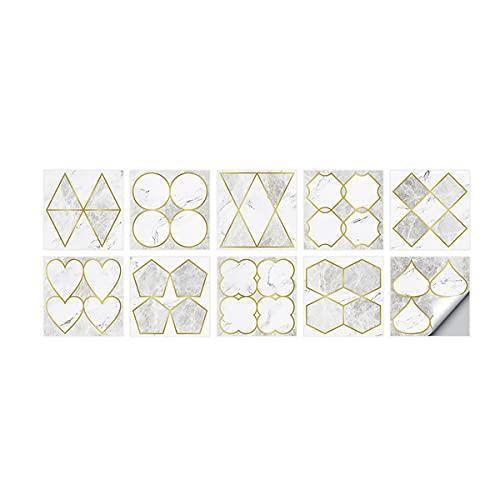 Pegatinas de pared geométricas de lujo ligeras pegatinas impermeables y a prueba de aceite de cocina pegatinas de azulejos de pared de fondo de TV