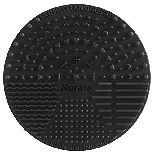 Norate Brush Cleaning Pad, Silicone Makeup Brush Cleaner Scrubber Mat Portable Washing Tool Cosmetic Brush Cleaner with Suction Cup