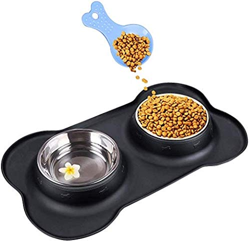 Dubbele Hond Bowls Dubbele Kat Schaal, met Niet-slip Anti-overloop Siliciumplaat Roestvrij Staal Huisdier Water Voeding