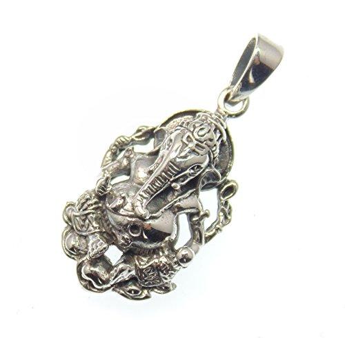 Ganesha Silber Anhänger, Hindu Gottheit, Symbol für Glück, Erfolg und gutes Gelingen von Vorhaben 925 Sterling...