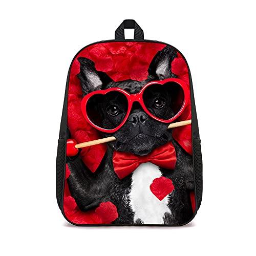 Mochila para hombre Senderismo Deportes y mochilas para exteriores Mochila escolar informal de nailon Mochila para el pecho con bandolera para el hombro 16 pulgadas (Perro guapo con gafas de sol)