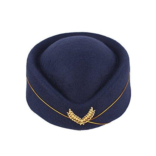 BESTOYARD Flugbegleiterin Mütze Wollfilz Stewardess Hut Damen Pillbox Mützen Stewardess Kostüm Cosplay Cap Größe M (Marineblau)