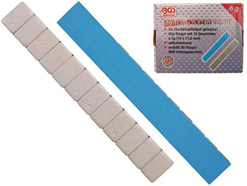 BGS 8426 | Auswuchtklebegewichte | 50-tlg. | 12 x 5 g | Klebe-, Auswucht-, Stahl-Gewichte | Kleberiegel | 60 g | Abrisskante