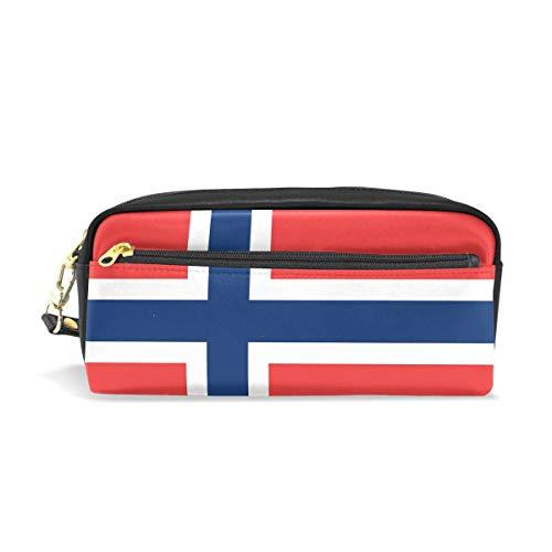 Eslifey Tragbare Tasche aus PU-Leder mit Flagge von Norwegen, für Schule, Schreibwaren, Bleistifttasche für Kinder, wasserdicht, Kosmetiktasche, Make-up-Etui