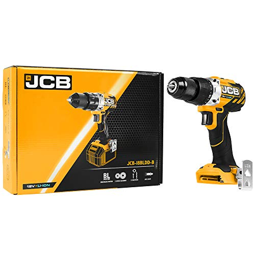 JCB 18V Brushless Cordless Drill Driver with 5Pc Masonry Drill Bit Set - Battery Drill Set - Drill with Light LED - Drill Tool Set - JCB Cordless Drill Driver - Drilling and Hammer - DIY