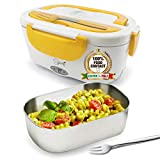 SPICE Amarillo inox Scaldavivande portatile Lunch Box con Forchetta e vaschetta estraibile in...