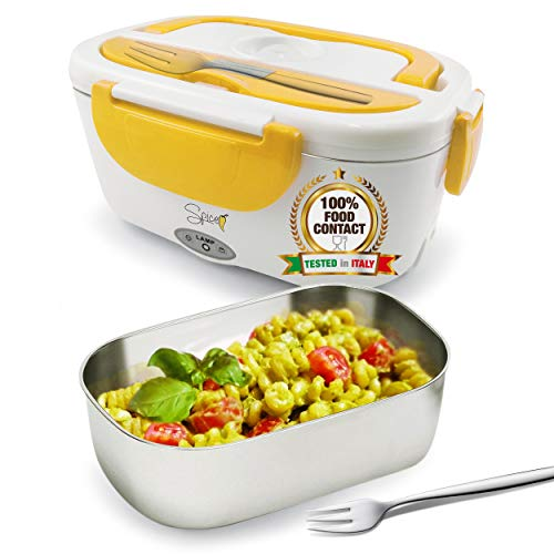 SPICE Yellow Stainless Steel Electric Food Warmer Removable Stainless Steel Lunchbox