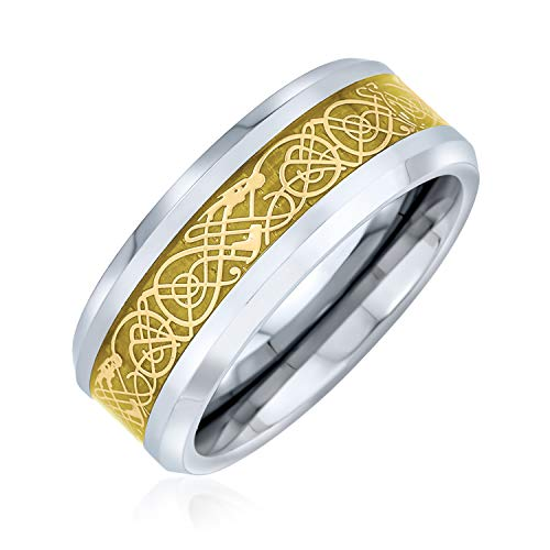 Bling Jewelry Tungsten Celtic Dragon Gold Inlay Flat Fit Wedding Band - Size 8.5
