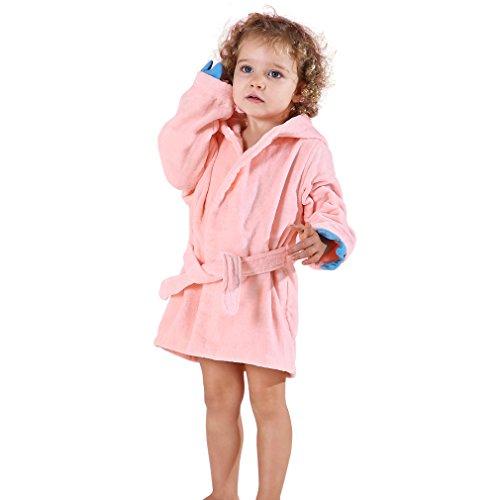 MICHLEY Bebé Ropa Niños Niñas Albornoz Capucha manta Toalla Pijamas Baño Algodón Animale para (Rosa 3-5T)