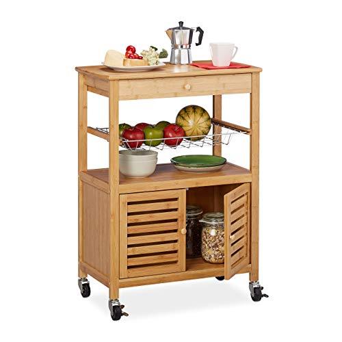 Relaxdays Küchenwagen Bambus, Arbeitsplatte, Schrankfach & Korb, Servierwagen mit Rollen, HBT: 82 x 59,5 x 35 cm, natur