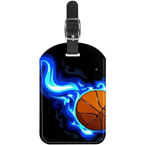 Etiquetas de equipaje de cuero azul Fire Baloncesto para maleta de viaje, 1 paquete