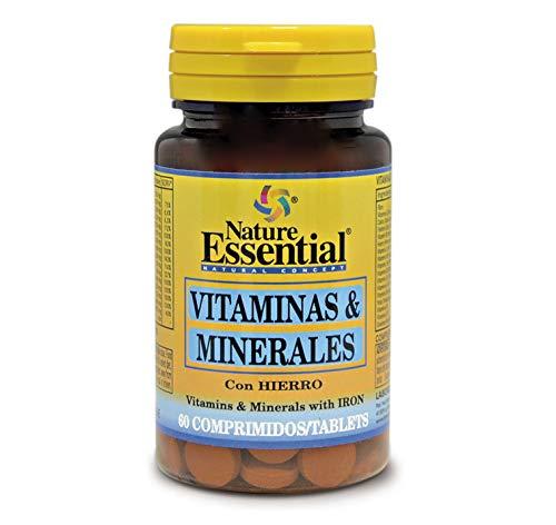 Vitaminas & minerales. 60 comprimidos con fibra, Hierro, Yodo, vitaminas A, C, D, E, B-1, B-2, B-3, B-5, B-6, B-9 y B-12…