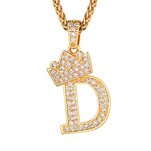 Richsteel Initial D Necklace for Men Women 18K Gold Plated Ice Out Pendant with 22 Inch Chain Fashion Letter Name Jewelry