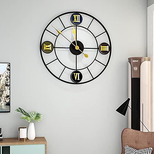 Reloj de Pared silencioso con números Romanos, Metal Vintage Reloj Grande 50cm No Tictac, Funciona con Pilas, Esqueleto de Metal para Sala de Estar Cocina cafetería Hotel Oficina Dormitorio