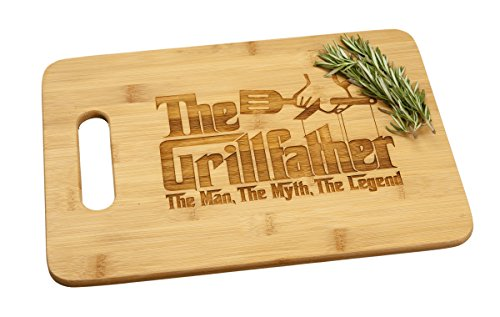 Grillfather Grill Father Engraved Bamboo Wood Cutting Board with Handle Funny Godfather Movie Gift for Birthday or Father's Day