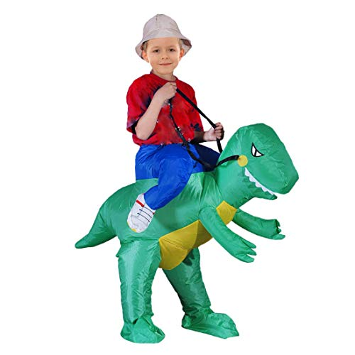 Semriver Inflatable Dinosaur Rider T-REX Costume Christmas Halloween Costume for Adults and Kids Inflatable Costumes Cosplay Party Dress Up (Dinosaur Child)