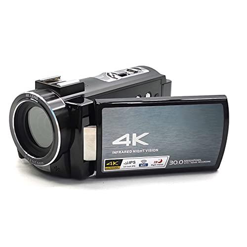 AHNUNVA Videocamera 4K 60FPS Videocamera Digitale WiFi Vlogging Camcorder 3.0 Pollici IPS Touchscreen Visione Notturna Camera con Hot Shoe Batteria esterna