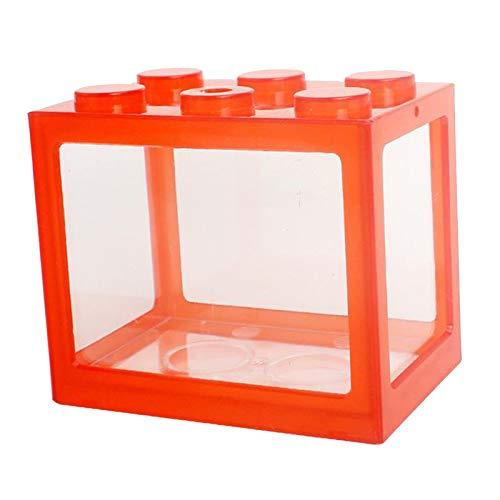 Nobranded Acuario pecera Mini Acuario Bloques de construcción Pet Spider Fish Tanque Caja para Escritorio Oficina Decoración de Mesa de té - Rojo