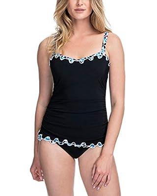 Profile by Gottex Women's Standard Lettuce Ruffle Sweetheart Cup Sized Tankini Top Swimsuit, Pin Wheel Black, 32D