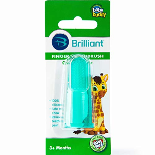 Price comparison product image Brilliant Baby Finger Toothbrush - Silicone Gum Massager and Teether Brush for Babies and Toddlers - Kids Love Them,  Green,  1 Count