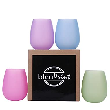 Silicone Wine Glasses Unbreakable Outdoor - Silicone Wine Cups - Stemless Wine Glasses: Set of 4, Rubber - Unbreakable, Shatterproof glasses for Camping, Travel, Beach, Pool Party