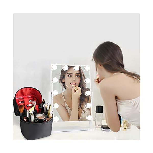 41QXFUc6JuL. SS600  - FANDARE Bolsas de Maquillaje Mujeres Bolsa de Cosméticos de Viaje Bolsa de Aseo Neceseres de Viaje Niñas Vacaciones Viajes de Negocios Impermeable Nylon Azul