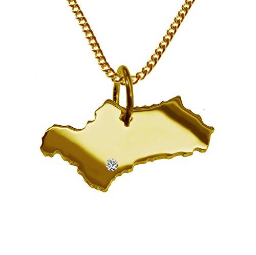 50cm Halskette + Andalusien Anhänger mit einem Brillant 0,015ct an Ihrem Wunschort in massiv 585 Gelbgold