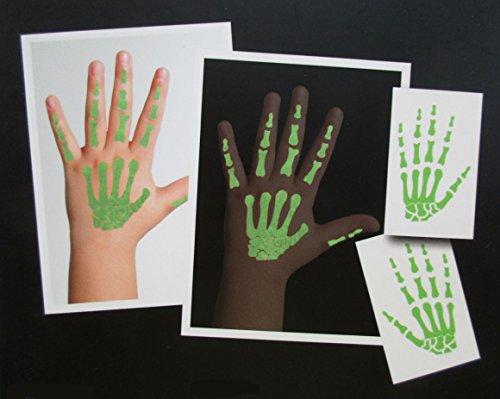 2 Temporäre Grüne Hand-Skelett Tattoos für Kinder in Nachtleuchtend