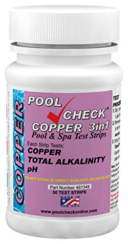 Industrial Test Systems 481348 Copper 3 in 1 Pool Check   Made in USA   3 Parameter Pool Test Strips   Copper, pH, & Total Alkalinity   Easy Match Colors   Lowest Copper Detection Levels
