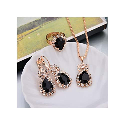 ZYQXB 6 Collar Colgante de Color/Pendientes/Anillos (Metal Color : Black)