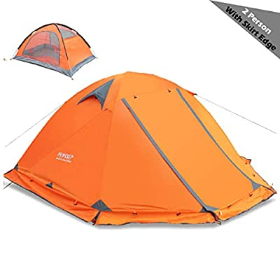 TRIWONDER 2 Person 4 Season Tent for Backpacking Camping Outdoor Waterproof Lightweight Hiking Tent (Orange - with Skirt Edge)