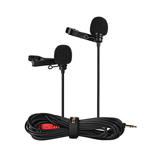 Docooler Microfone De Lapela De Lapela De Duas Cabeças Com Microfone Condensador Omnidirecional Com Clip Comprimento Do Cabo 2.5M Para Canon Nikon Sony A7 A6300 Câmera Iphone Gopro Hero