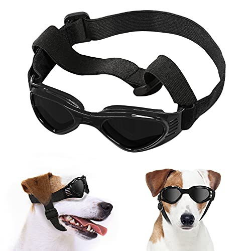 Lewondr Small Dog Sunglasses UV Protection Goggles Eye Wear Protection with Adjustable Strap Foldable Pet Sunglasses for Dogs Waterproof Pet Sun Glasses Dog Windproof Anti-Fog Glasses, Black