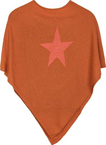 styleBREAKER weicher Feinstrick Poncho mit aufgedrucktem Glitzer-Stern, Rundhals, Damen 08010028, Farbe:Orange