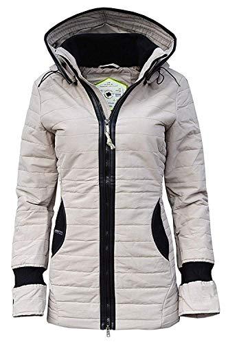 khujo Damen Winterjacke Stepp-Jacke MIDD Kapuze beige & schwarz (XL, beige (257 Dove))