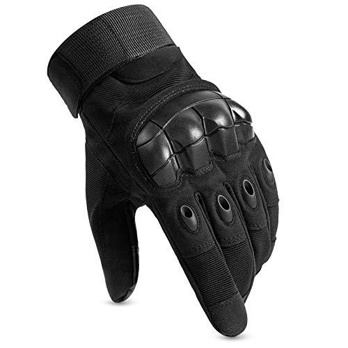 Huntvp Taktische Handschuhe Touchscreen Militär Einsatzhandschuhe Atmungsaktiv Fahrrad Handschuhe Motorradhandschuhe für Softair Paintball Wandern Klettern Radsport, Schwarz L