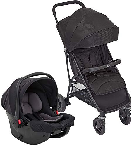 Graco Breaze Lite i-Size Travel System (Pushchair & Car Seat, Birth to 3 Years Approx, 0-15kg) with Raincover, Black