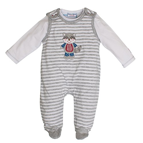 Salt & Pepper Baby-Jungen BG Playsuit Stripe Strampler, Grau (Grey Melange 212), 68