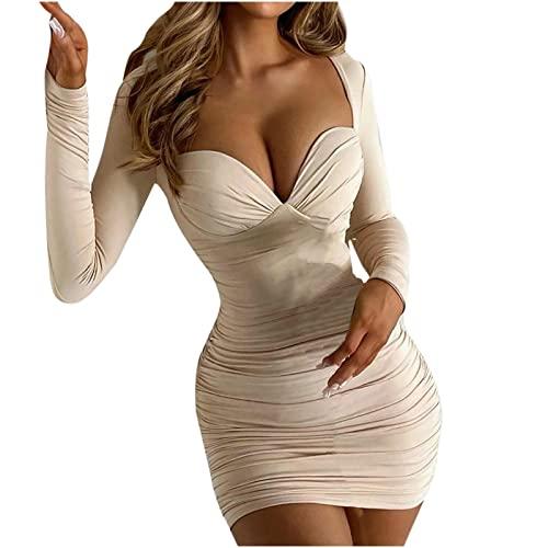 Abito da donna, elegante, a maniche lunghe, con scollo a V, plissettato, sottile, tinta unita, abito da sera, cachi, L