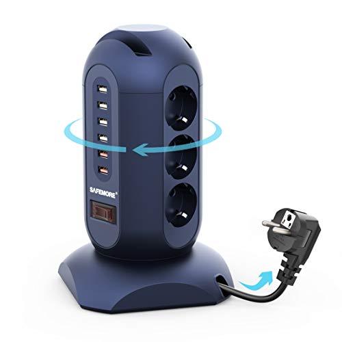 SAFEMORE Regleta Vertical Enchufes de 9 Tomas Corrientes y 6 Rápida USB Tomas con Soporte del Teléfono, Retráctil Alargadora Cable de 1,8m con Proteccion 900J y Interruptor, Base Múltiple, Azul Real