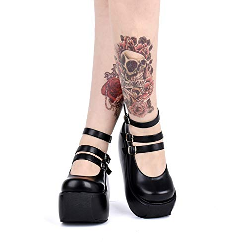 XWHKX Lolita Shoes Autumn and Winter Gothic Shoes Ultra high Heel Platform Shoes