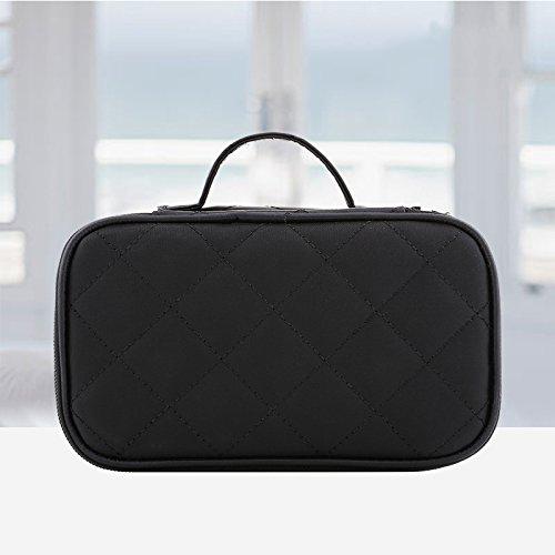 Voyage portable petit multi-fonction sac cosmétique de haute capacité à main mini sac de rangement simple (noir - rose),Black