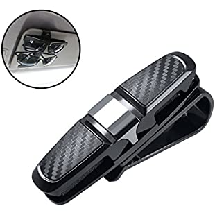 Giveet Car Glasses holder, Double-Ends Car Visor Sunglasses Ticket Cash Clip Holder (Carbon Fiber Design)