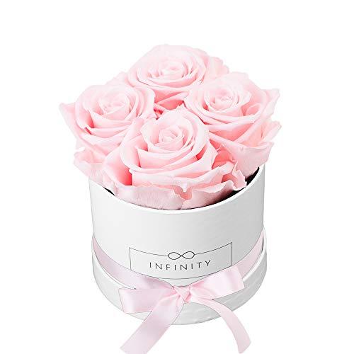 Infinity Flowerbox Small (Weiß) - 4 echte Premiumrosen in Bridal Pink