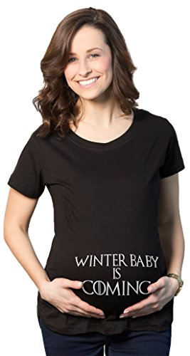 Maternity Winter Baby is Coming T Shirt Geeky Novelty Pregnancy Tee (Black) - M