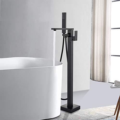 Rozin Schwarz Freistehende Armatur Badewanne Wasserhahn 360° Drehbarer Auslauf mit Handbrause Badezimmerarmatur Standarmatur Armaturen